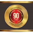 Stock Vector: Anniversary golden label, 90 years