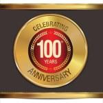 Anniversary golden label, 100 years — Stock Vector