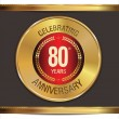 Anniversary golden label, 80 years — Stock Vector