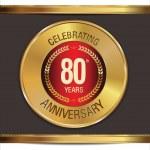 Anniversary golden label, 80 years — Stock Vector