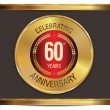 Stock Vector: Anniversary golden label, 60 years