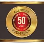 Anniversary golden label, 50 years — Stock Vector