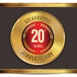 Stock Vector: Anniversary golden label, 20 years