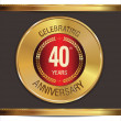 Anniversary golden label, 40 years — Stock Vector