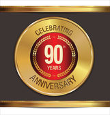 Anniversary golden label, 90 years — Stock Vector