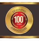 Anniversary golden label, 100 years — Vector de stock