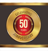 Anniversary golden label, 50 years — Stock Vector
