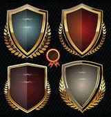 Coleção de escudo dourado — Vetor de Stock