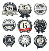 Anniversary retro labels — Stock Vector