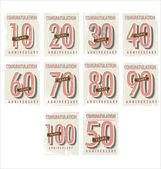 Anniversary retro background collection — Stock Vector