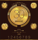 Golden anniversary medallion with laurel wreath, collection — Vector de stock