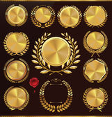 Golden anniversary medallion with laurel wreath, collection — 图库矢量图片