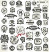 Verjaardag teken collectie, retro design — Stockvector