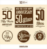 Anniversary sign collection, retro design — Stock vektor