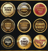GMO and gluten free label collection — Stock Vector