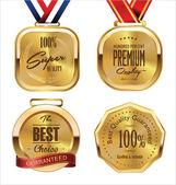 Golden metal badges — Stock Vector