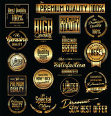 Premium quality golden labels — Stock Vector