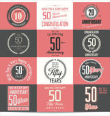 Anniversary retro labels — 图库矢量图片