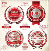 White and red Premium Quality Labels — Stock Vector