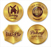 Set of golden bakery labels — Stock Vector