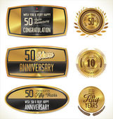 Anniversary golden labels — Stock Vector