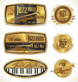 Jazz radio golden labels — Stock Vector