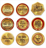 Golden premium quality labels — Vecteur
