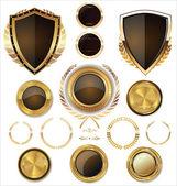 Shields, golden labels and larel wreaths collection — Vecteur