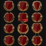 Golden shields collection — Stock Vector #48955933