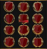Golden shields collection — Stock Vector