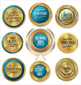 Premium quality blue and gold labels — Vector de stock