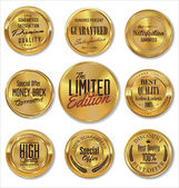 Golden metal badges — Vector de stock