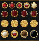 Shields, golden labels and larel wreaths collection — Vector de stock
