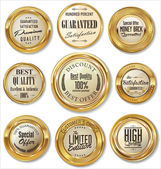 Premium quality golden metal badges — Vector de stock