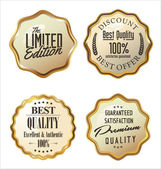 Premium quality golden metal badges — Stock Vector
