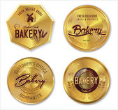 Set of golden bakery labels — Stockvektor