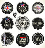 Rótulos de retro rock music — Vetor de Stock