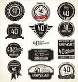 Anniversary retro badges and labels collection — Cтоковый вектор