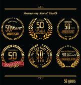 Anniversary laurel wreath retro labels — Stock Vector