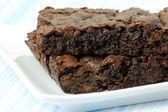 Two Vegan Brownies on a White Plate — Stock Photo