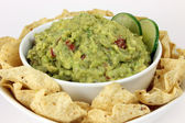 Guacamole with Tortilla Chips Close-Up — Stock Photo