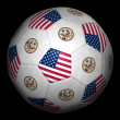 Football ball and USA flag — Stock Photo