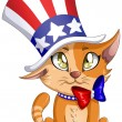 Independence Day Kitten — Stock Vector