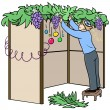 Jewish Guy Builds Sukkah For Sukkot — Stock Vector