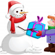 Christmas Snowman Gives Present To Boy - Stock Vector