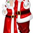 Santa And Mrs Claus Waving Hands For Christmas — Stock Vector