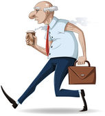 Old Businessman Walks with Briefcase and Coffee — Stock Vector