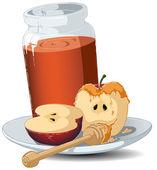 Rosh Hashanah Honey Jar and Apples — Stock Vector