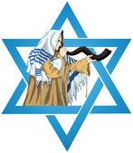 Star Of David Rabbi With Talit Blows The Shofar — Stock Vector