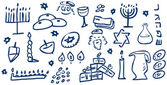 Hanukkah Symbols Doodles — Stock Vector